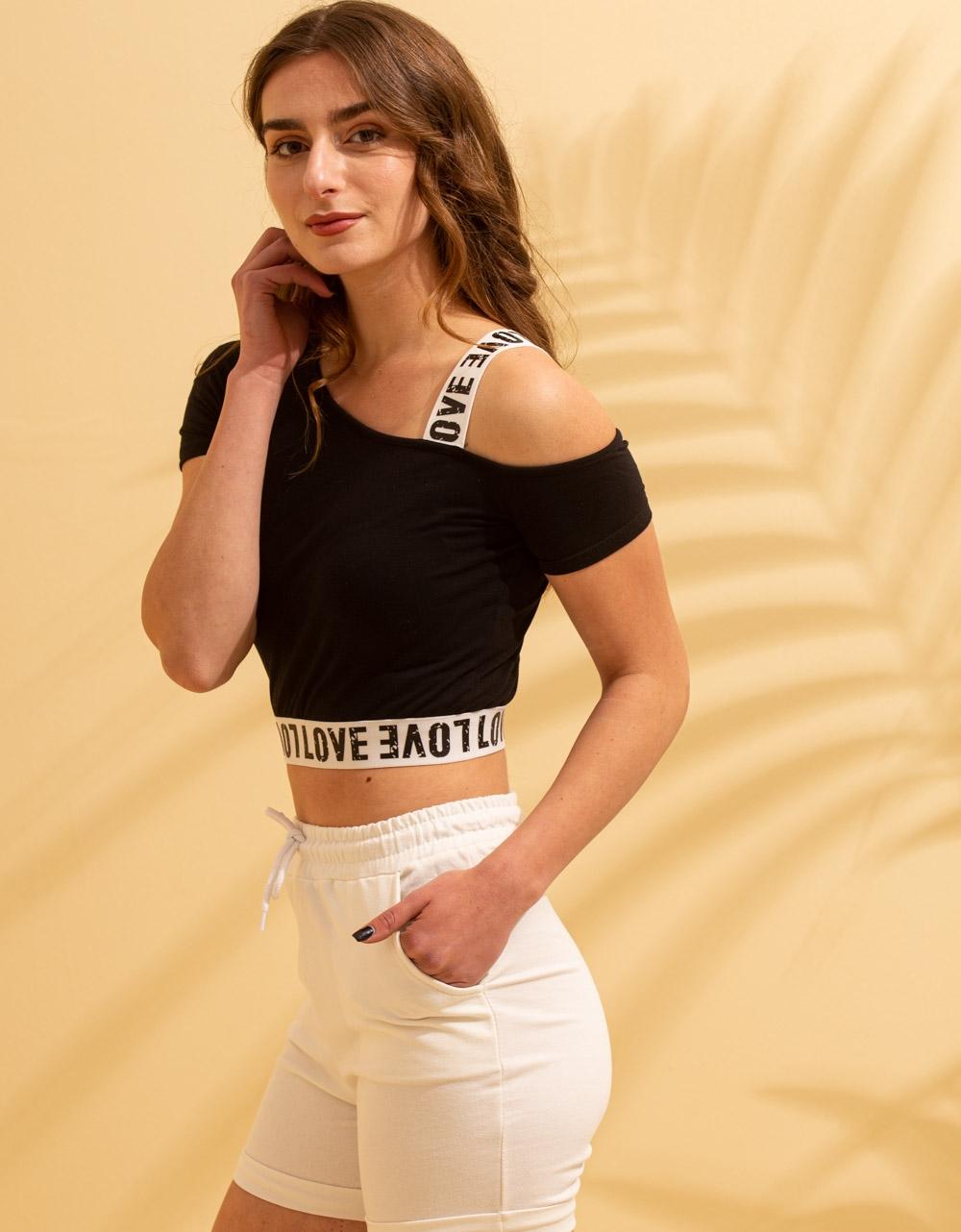 Εικόνα από Γυναικείο t-shirt με έναν ώμο Μαύρο