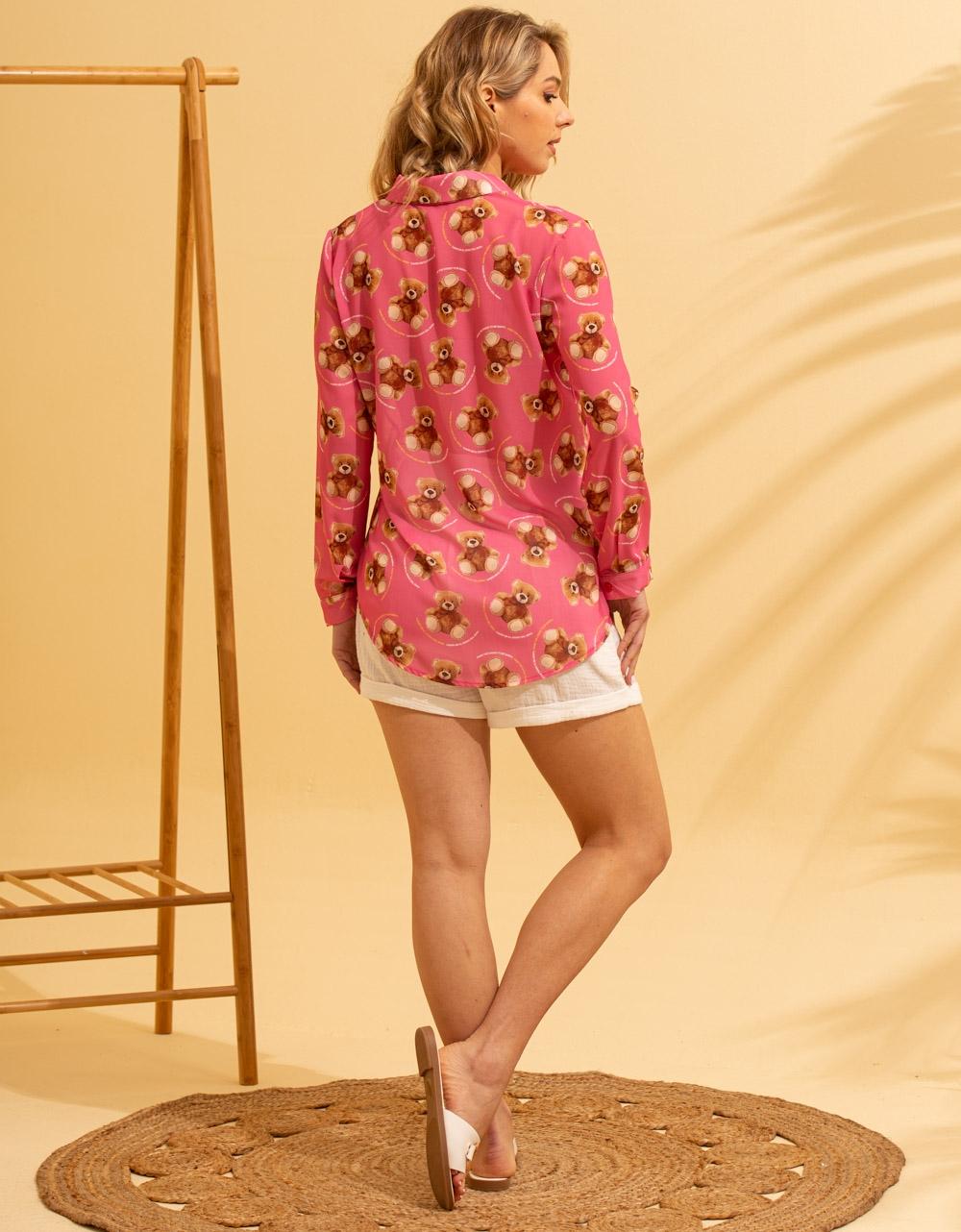 Εικόνα από Γυναικείο πουκάμισο με σχέδια Ροζ