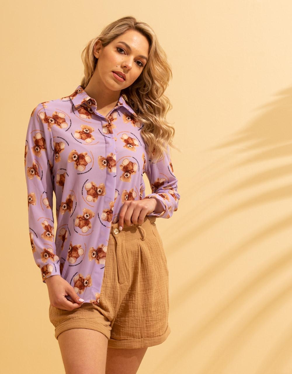 Εικόνα από Γυναικείο πουκάμισο με σχέδια Λιλά