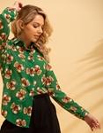 Εικόνα από Γυναικείο πουκάμισο με σχέδια Πράσινο