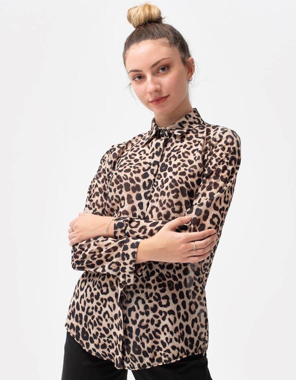 Εικόνα από Γυναικείο πουκάμισο με σχέδια Λεοπάρ