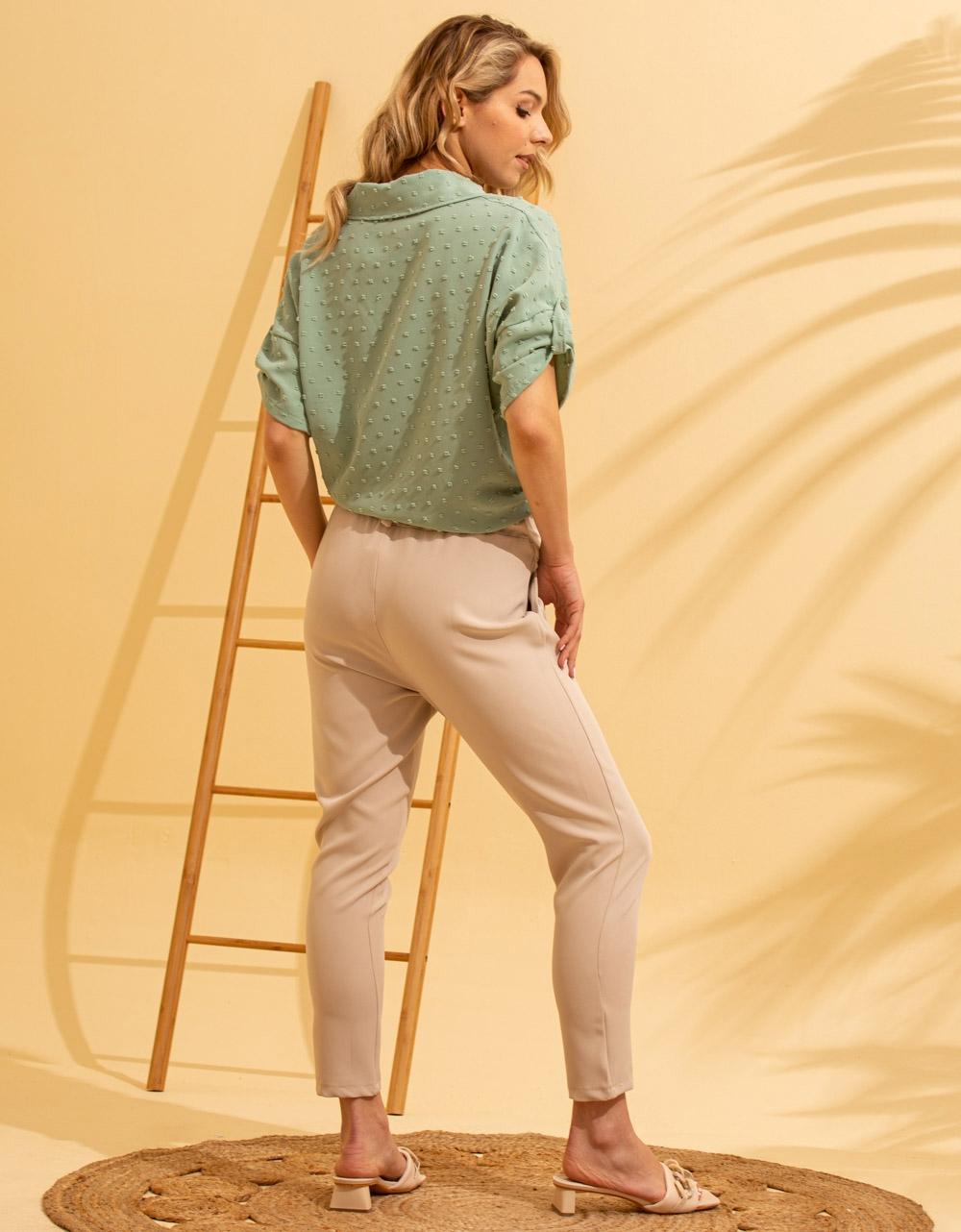 Εικόνα από Γυναικείο πουκάμισο με ανάγλυφο σχέδιο δετό Πράσινο