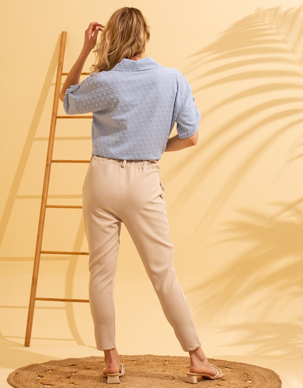 Εικόνα από Γυναικείο πουκάμισο με ανάγλυφο σχέδιο δετό Σιέλ