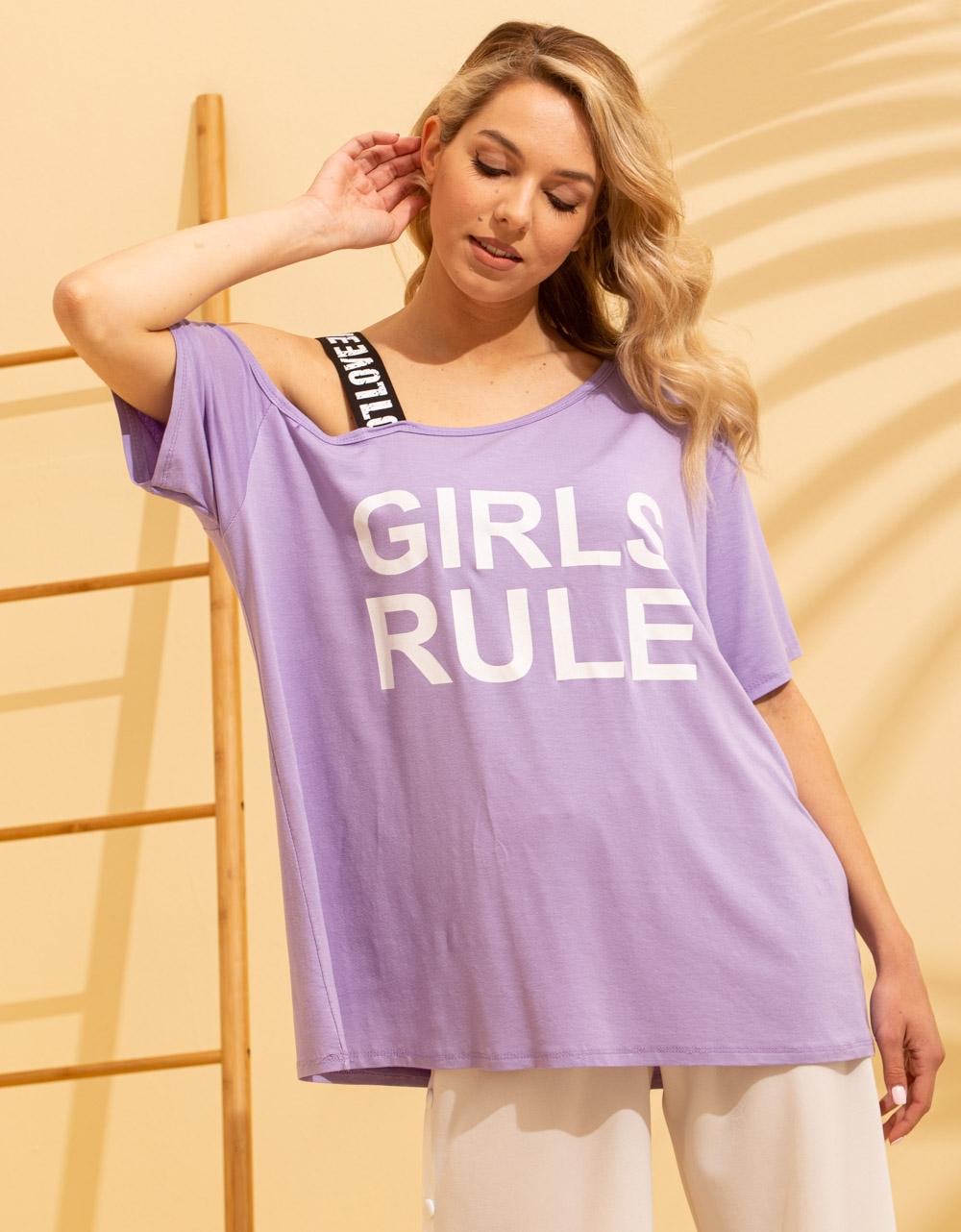 Εικόνα από Γυναικείο t-shirt με έναν ώμο Μωβ