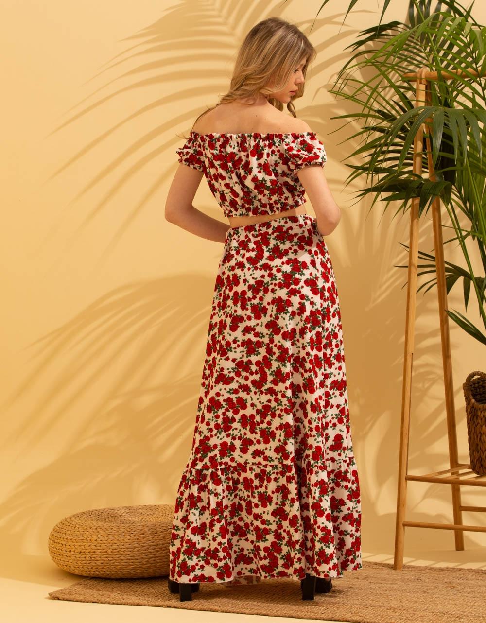 Εικόνα από Γυναικεία σετ φούστα maxi & crop top Λευκό