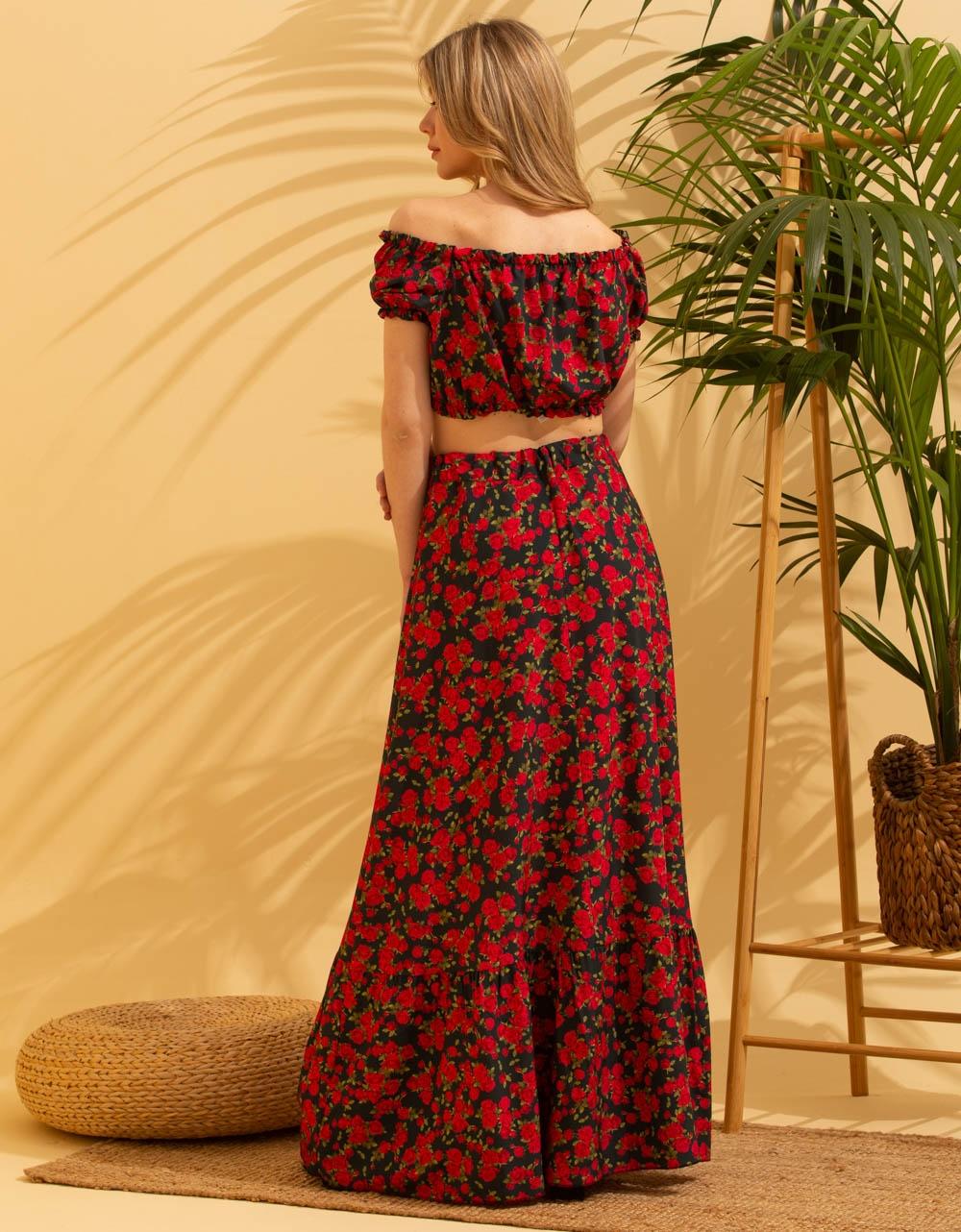 Εικόνα από Γυναικεία σετ φούστα maxi & crop top Μαύρο