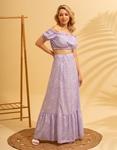 Εικόνα από Γυναικεία σετ φούστα maxi & crop top Λιλά