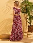 Εικόνα από Γυναικεία σετ φούστα maxi & crop top Μωβ