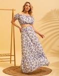 Εικόνα από Γυναικεία σετ φούστα maxi & crop top Λευκό/Μωβ