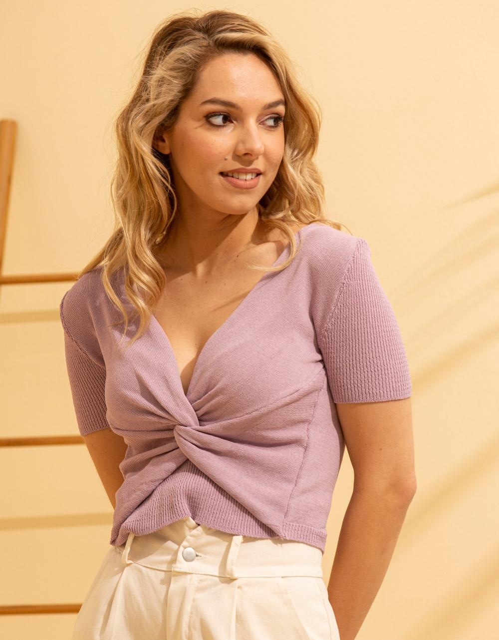Εικόνα από Γυναικεία μπλούζα κρουαζέ Λιλά