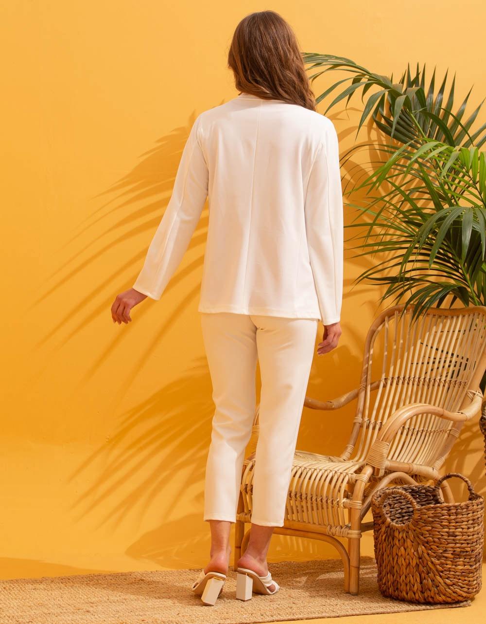 Εικόνα από Γυναικείo σακάκι σε ίσια γραμμή Λευκό