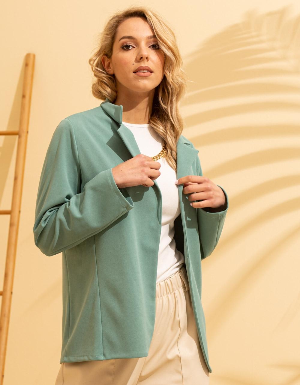 Εικόνα από Γυναικείo σακάκι σε ίσια γραμμή Τιρκουάζ