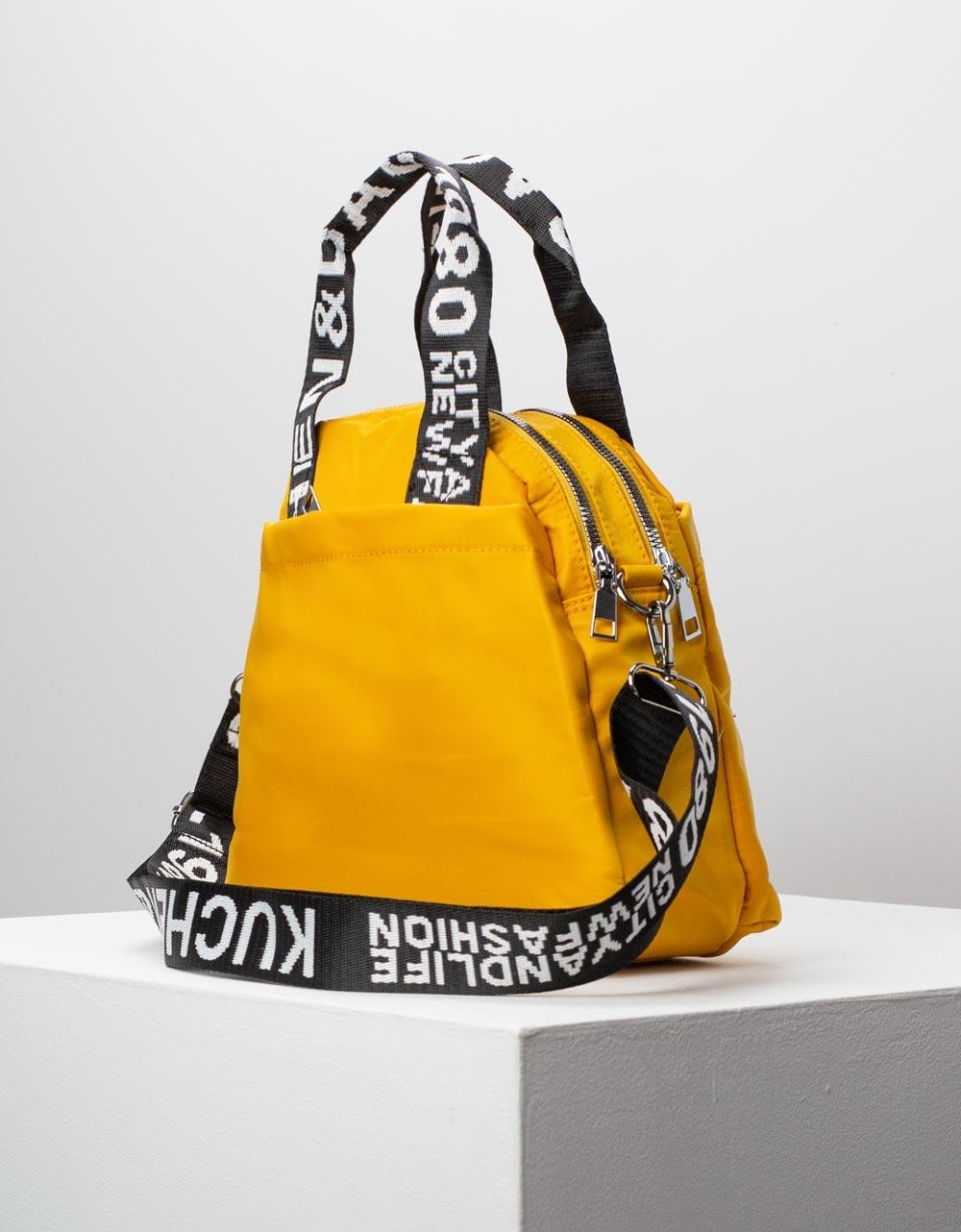 Εικόνα από Γυναικεία τσάντα χειρός με εξωτερικές θήκες Κάμελ