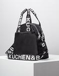 Εικόνα από Γυναικεία τσάντα χειρός με εξωτερικές θήκες Μαύρο