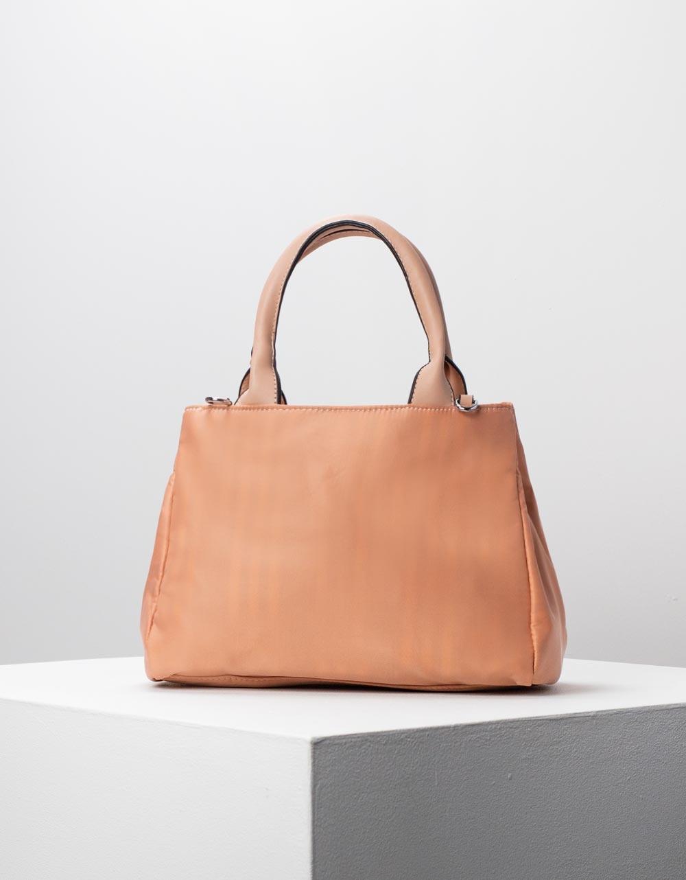 Εικόνα από Γυναικεία τσάντα χειρός με εσωτερικό τσαντάκι Ροζ