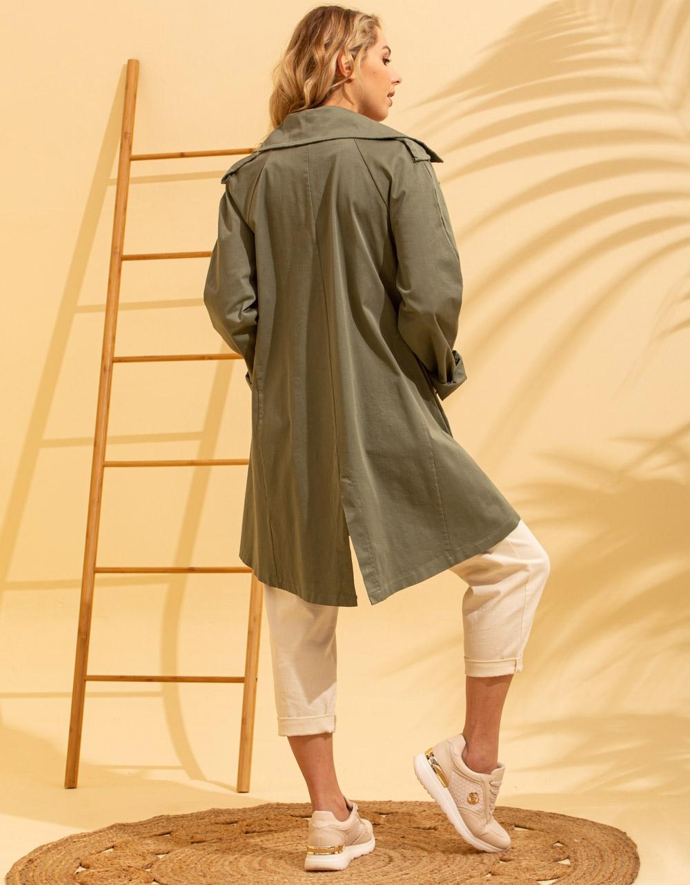 Εικόνα από Γυναικείο πανοφώρι ελαφρύ με τσεπάκια Πράσινο