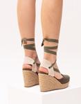 Εικόνα από Γυναικείες suede εσπαντρίγιες lace up Πράσινο