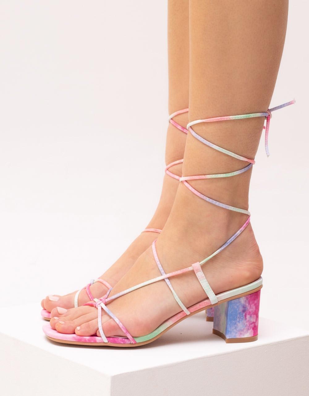 Εικόνα από Γυναικεία πέδιλα lace up με σχέδια Multi