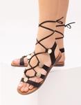 Εικόνα από Γυναικεία σανδάλια lace up Μαύρο