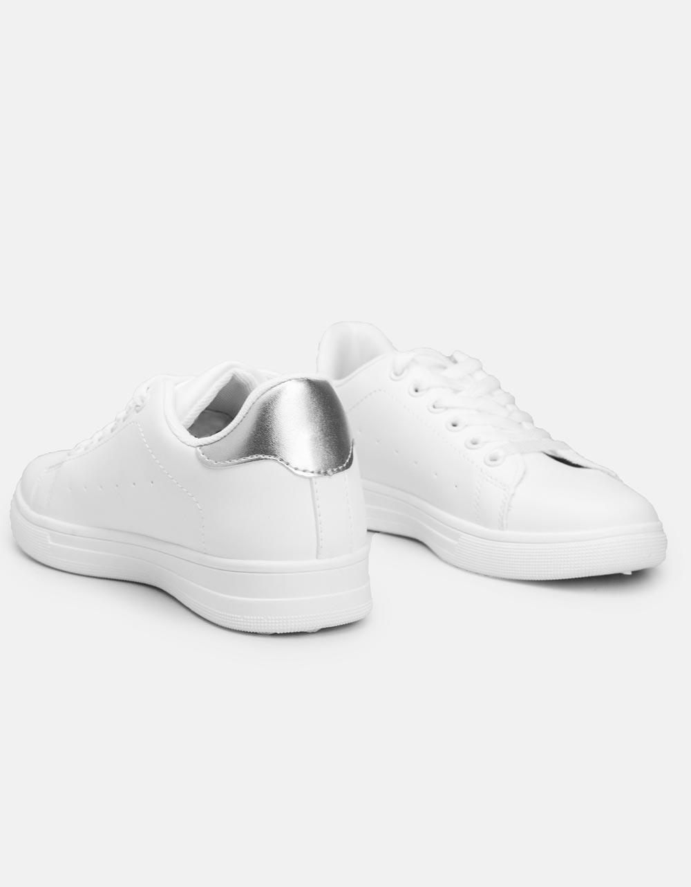 Εικόνα από Γυναικεία sneakers basic με διχρωμία Λευκό/Ασημί