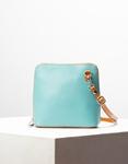 Εικόνα από Γυναικεία τσάντα ώμου γνήσιο δέρμα μονόχρωμη Σιέλ