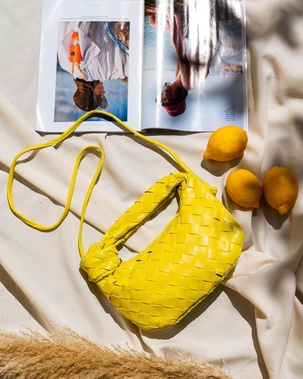 Εικόνα από Γυναικεία τσάντα ώμου & χιαστί με ανάγλυφο pattern Κίτρινο