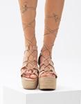 Εικόνα από Γυναικείες suede εσπαντρίγιες lace up Μπεζ