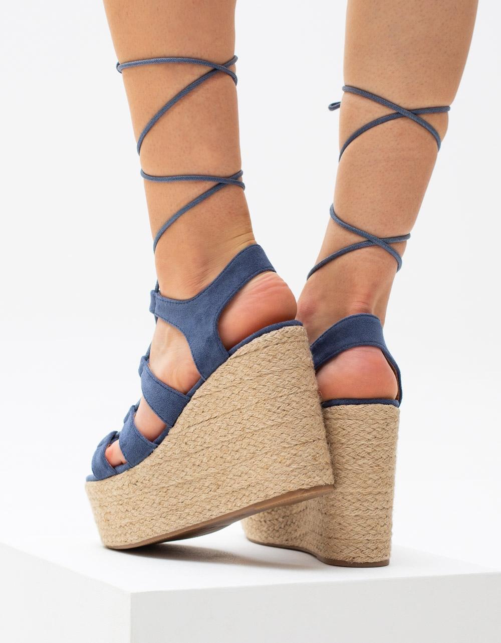 Εικόνα από Γυναικείες suede εσπαντρίγιες lace up Μπλε