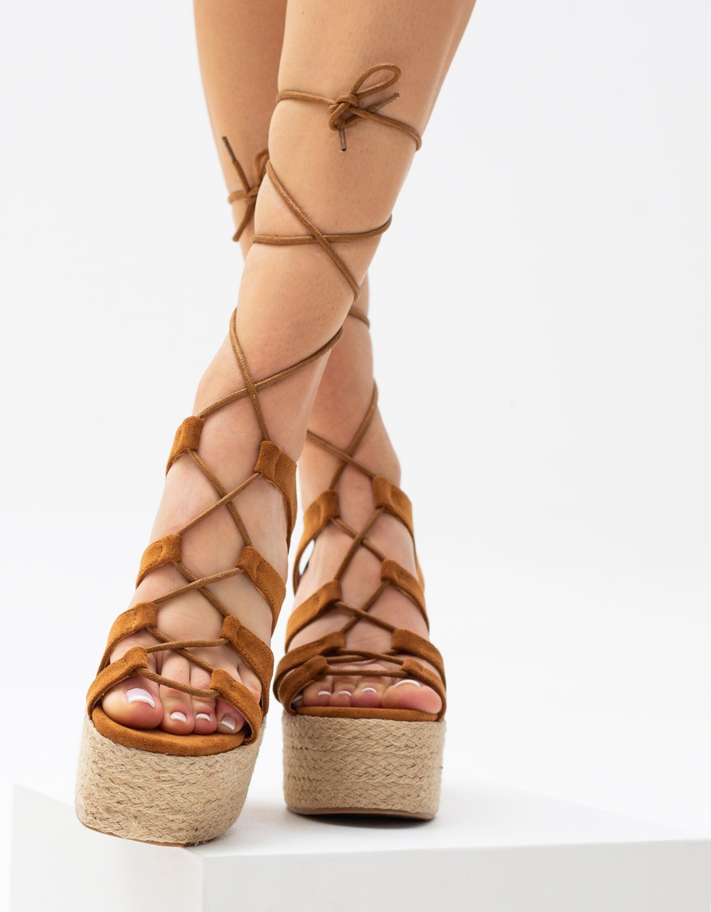 Εικόνα από Γυναικείες suede εσπαντρίγιες lace up Ταμπά
