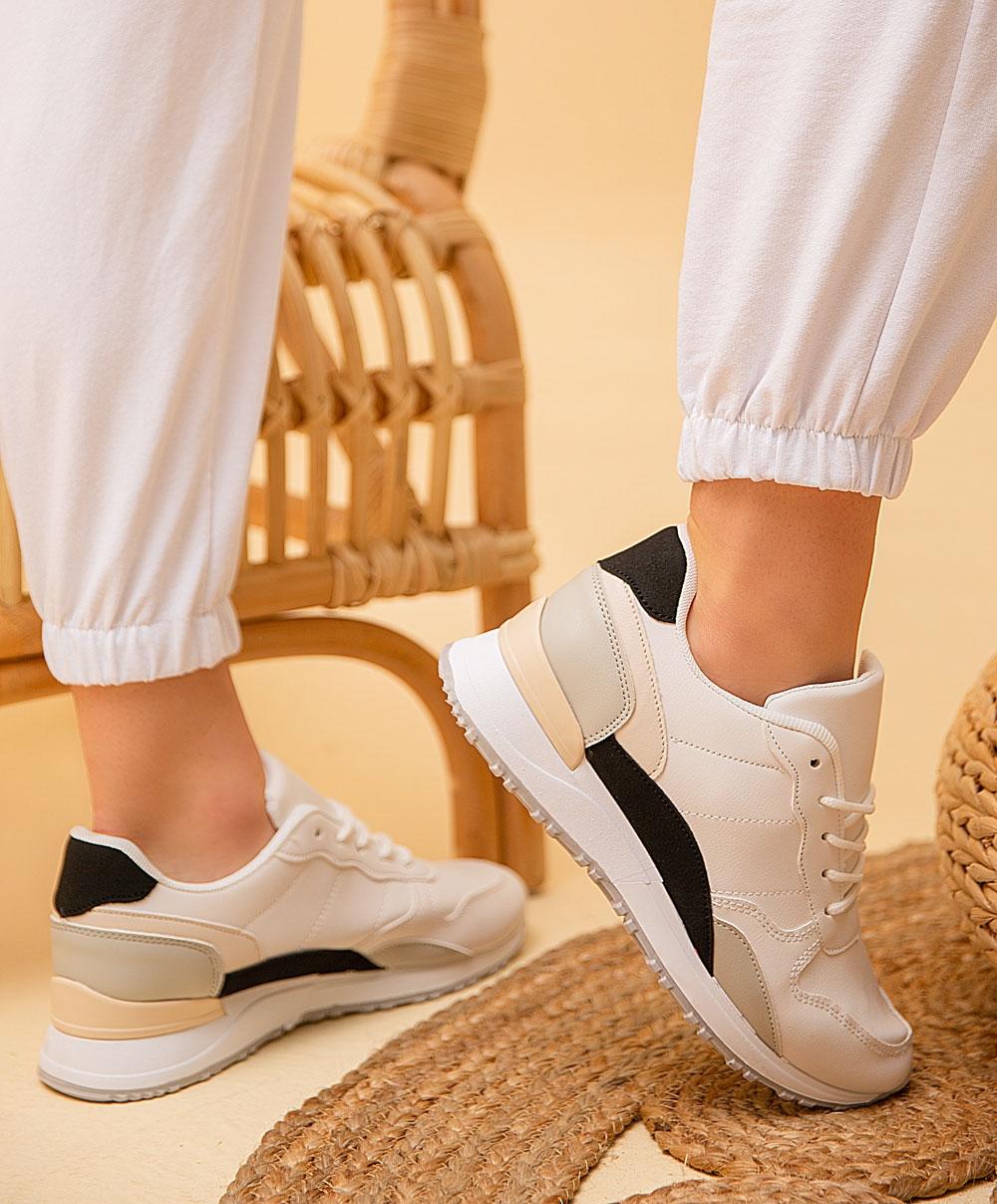 Εικόνα από Γυναικεία sneakers σε συνδυασμούς χρωμάτων Λευκό/Μπέζ