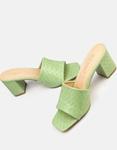 Εικόνα από Γυναικεία mules κροκό με τετράγωνο τακούνι Πράσινο