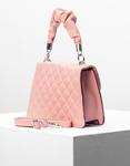 Εικόνα από Γυναικεία τσάντα ώμου & χιαστί καπιτονέ με σούρα Ροζ