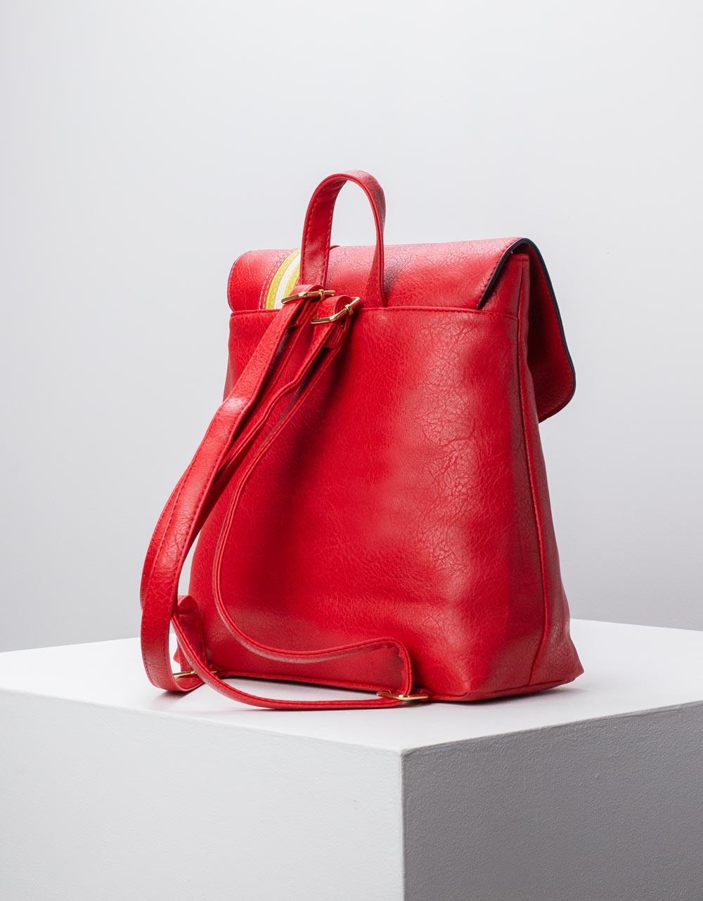 Εικόνα από Γυναικεία σακίδια πλάτης με διακοσμητικά φουντάκια Κόκκινο