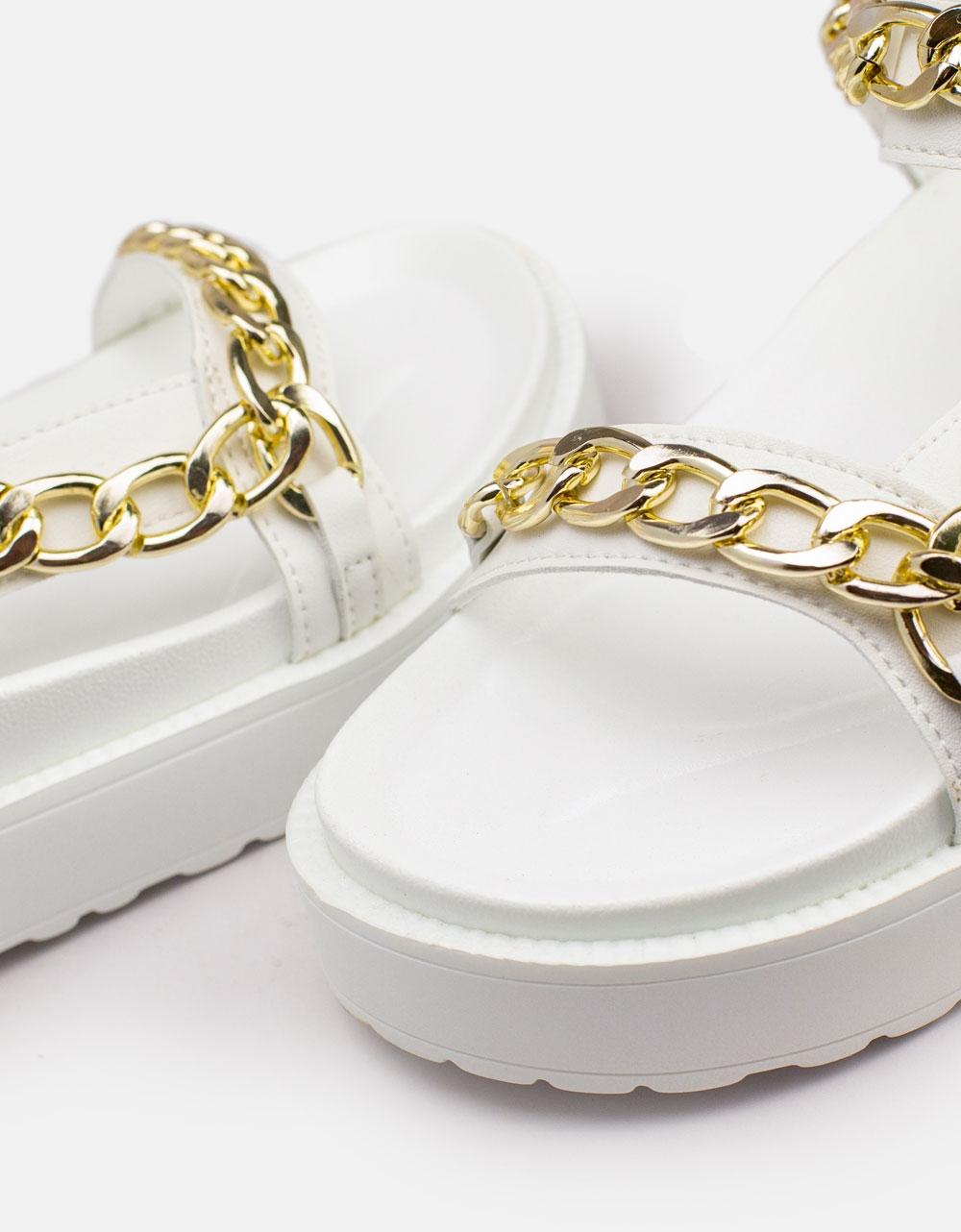 Εικόνα από Γυναικεία σανδάλια με διακοσμητική αλυσίδα Λευκό