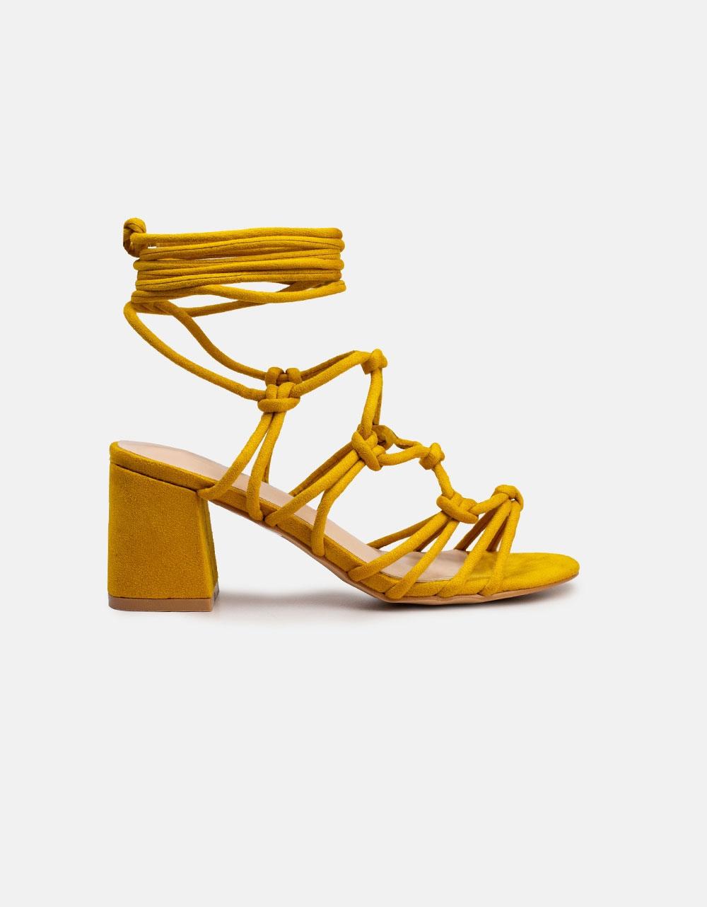 Εικόνα από Γυναικεία πέδιλα suede lace up Κίτρινο