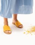Εικόνα από Γυναικεία δερμάτινα σανδάλια σε απλή γραμμή Κίτρινο