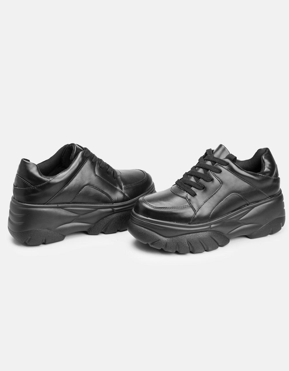 Εικόνα από Γυναικεία sneakers με ψηλή σόλα Μαύρο