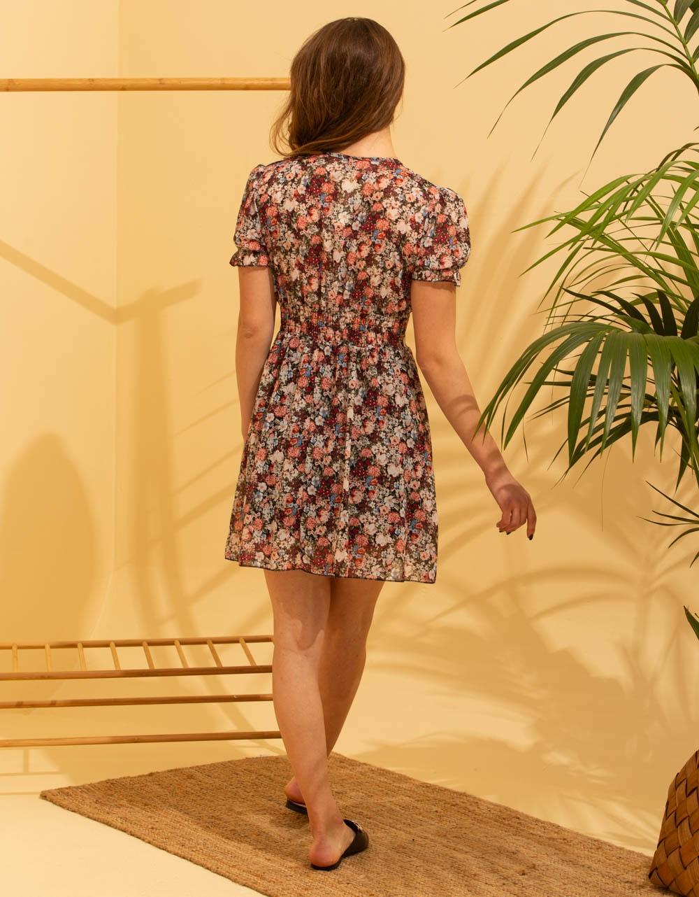 Εικόνα από Γυναικείο κοντό φορέμα με λουλούδια Κόκκινο