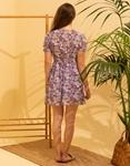 Εικόνα από Γυναικείο κοντό φορέμα με λουλούδια Μωβ