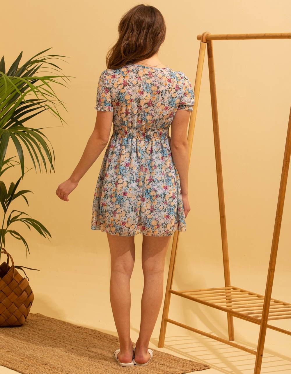 Εικόνα από Γυναικείο κοντό φορέμα με λουλούδια Σιέλ