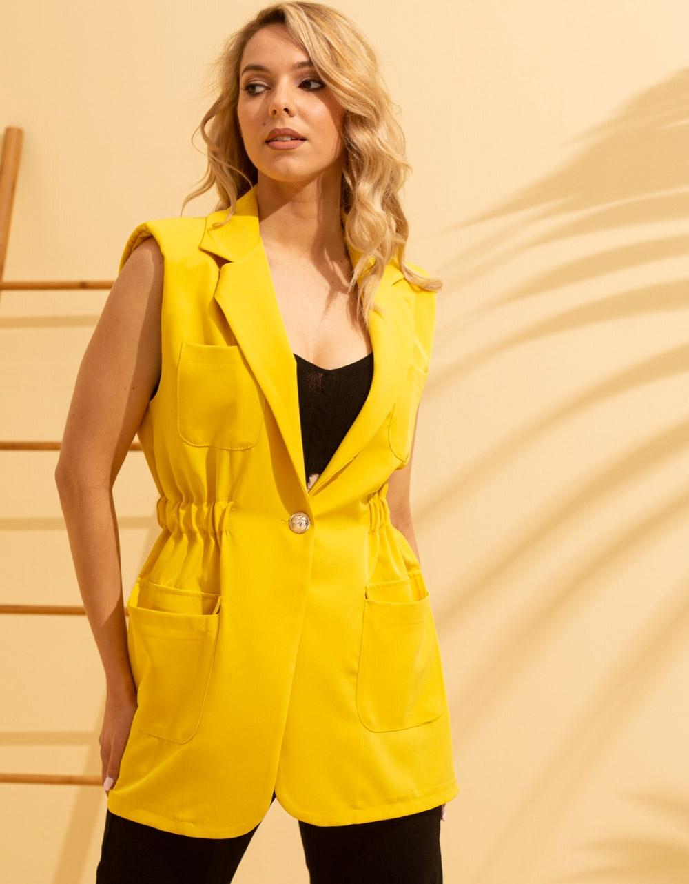 Εικόνα από Γυναικείο σακάκι μεσάτο & κοντό μανίκι Κίτρινο