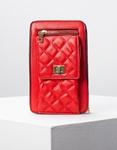 Εικόνα από Γυναικείο πορτοφόλι τσαντάκι με καπιτονέ λεπτομέρεια Κόκκινο