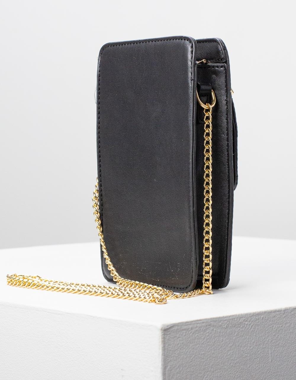 Εικόνα από Γυναικείο πορτοφόλι τσαντάκι με καπιτονέ λεπτομέρεια Μαύρο