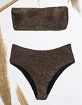 Εικόνα από Γυναικεία μαγιό σετ μπικίνι lurex strapless Μπρονζέ