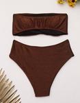 Εικόνα από Γυναικεία μαγιό σετ μπικίνι lurex strapless Χαλκός