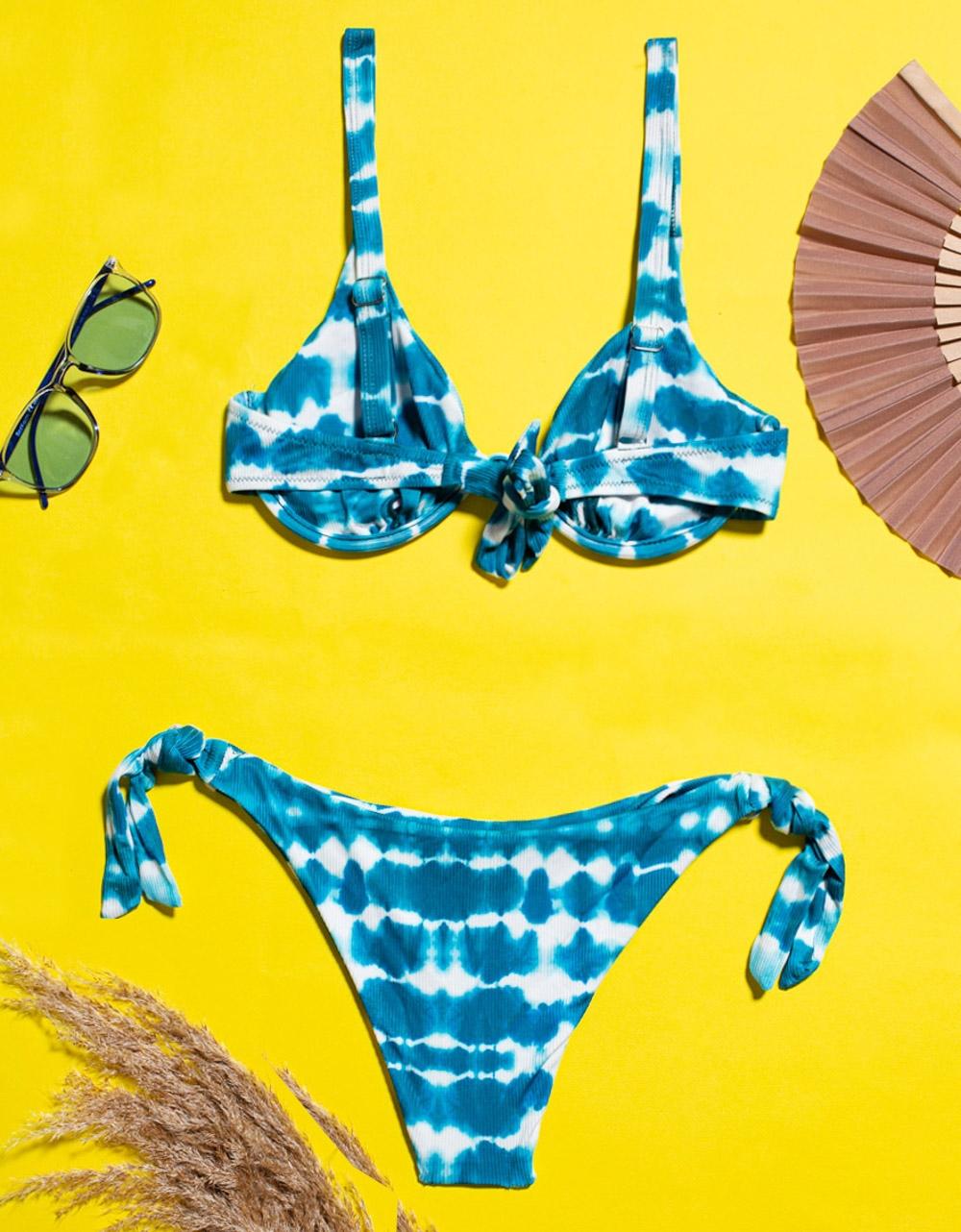 Εικόνα από Γυναικεία μαγιό σετ μπικίνι σε συνδυασμούς χρωμάτων Μπλε