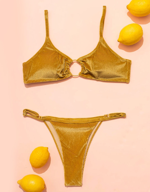 Εικόνα από Γυναικεία μαγιό σετ μπικίνι Velvet με κρίκο Κίτρινο