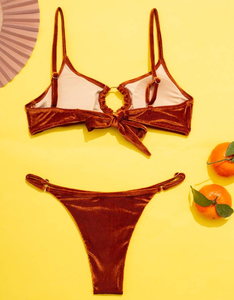 Εικόνα από Γυναικεία μαγιό σετ μπικίνι Velvet με κρίκο Πορτοκαλί
