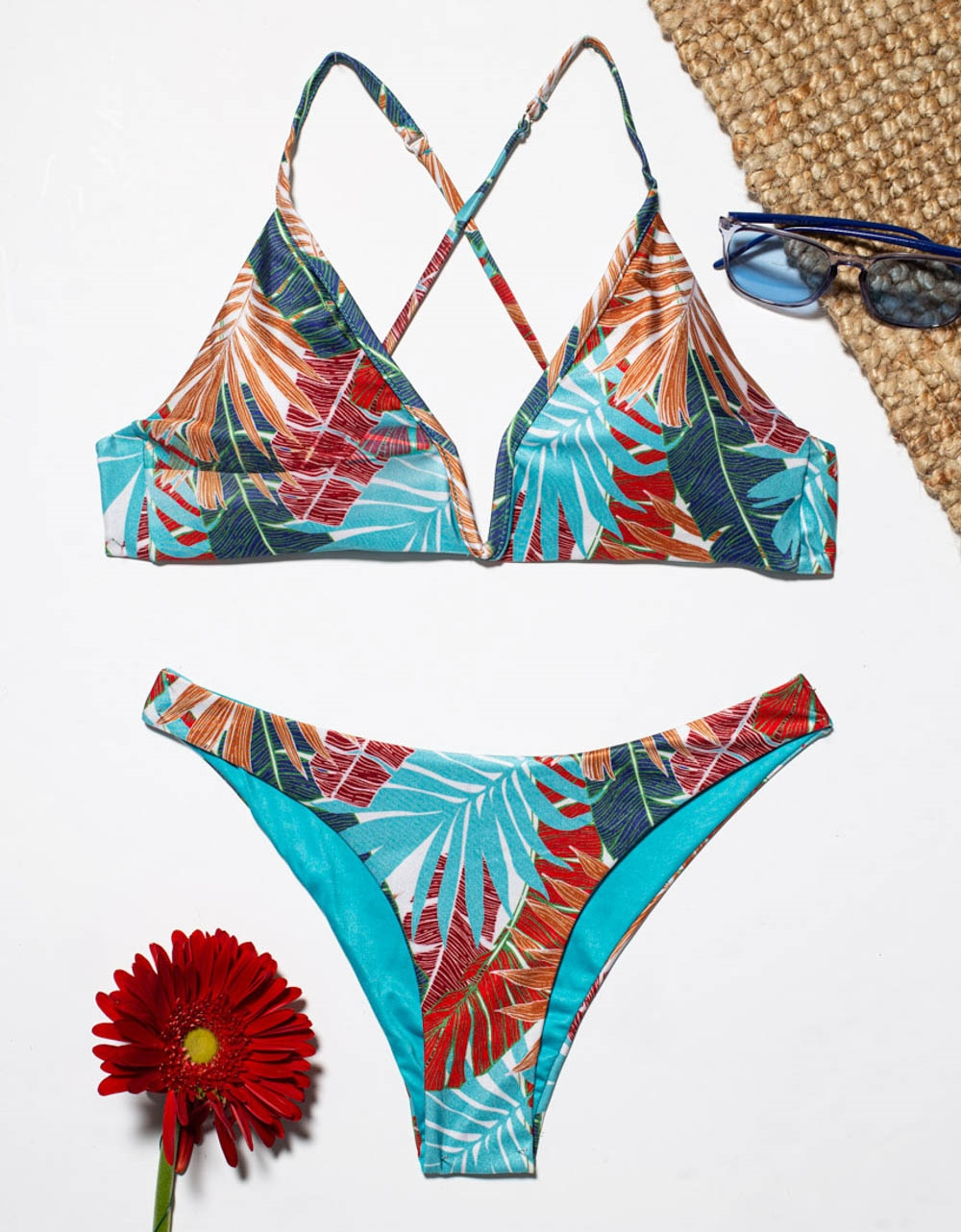 Εικόνα από Γυναικεία μαγιό σετ μπικίνι σχέδιο φύλλα Μπλε