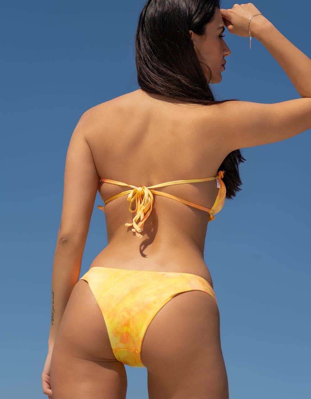 Εικόνα από Γυναικεία μαγιό σετ μπικίνι frilled tie dye Κίτρινο